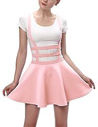 Urban CoCo Womens Elastic Waist Pleated Short Braces Skirt 723935721f