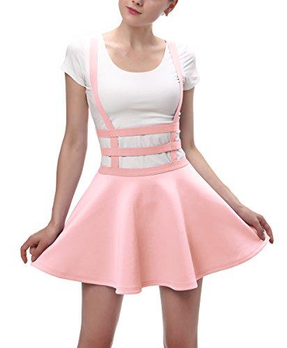 Niedliche Arbeit Tragen Kostüm - Urbancoco Damen Mädchen A-line Träger Mini Plissiert Rock hosenträger Rock (S, rosa)