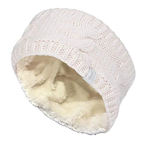 HEAT HOLDERS - Damen outdoor gestrickt strick thermo winter stirnband mit innen fleece (One Size, Cream)