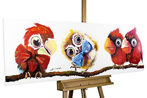 Vogel Leinwand Kunst (KunstLoft® Acryl Gemälde 'Im Mittelpunkt' 150x50cm | original handgemalte Leinwand Bilder XXL | Vögel Modern Rot Bunt | Wandbild Acrylbild Moderne Kunst einteilig mit Rahmen)
