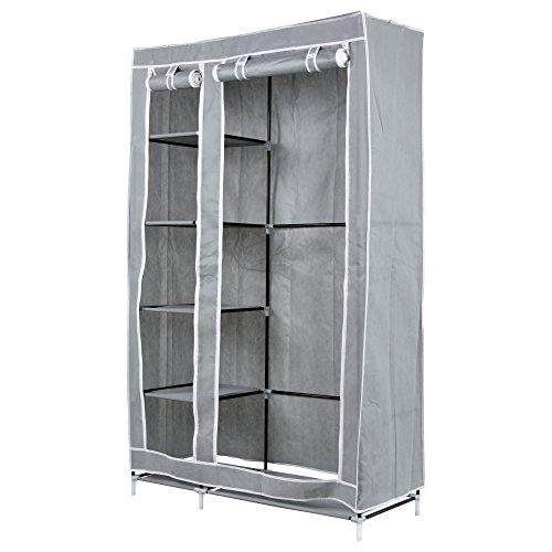 Jalano XL Stoffschrank Kleiderschrank Faltschrank Regal faltbar 110x45x175 cm, Farbe:Grau - Stahl-falt-regal