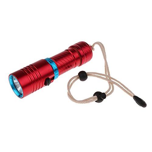 Sharplace Unterwasser 100 Meter Wasserdicht Tauchen LED Taschenlampe 1000LM Lampe Super Hell Blitzlicht Lampe Geeignet Zum Tauchen, Camping, Wandern, Trekking, Jagen, Angeln usw. - Rot