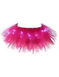 Damen Tüll mit LED Licht Ballet Tutu Tanz Rock,Tüllrock Petticoat Unterrock  Kurz Ballkleid Abendkleid 9736f4a510