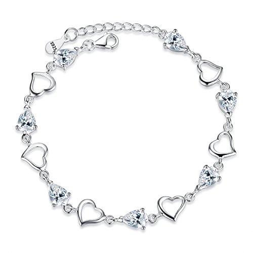"""EVER FAITH""""Chérie Fille"""" Bracelet Chaîne Femme Fille Argent 925 Oxyde de Zirconium Poire Cœur"""