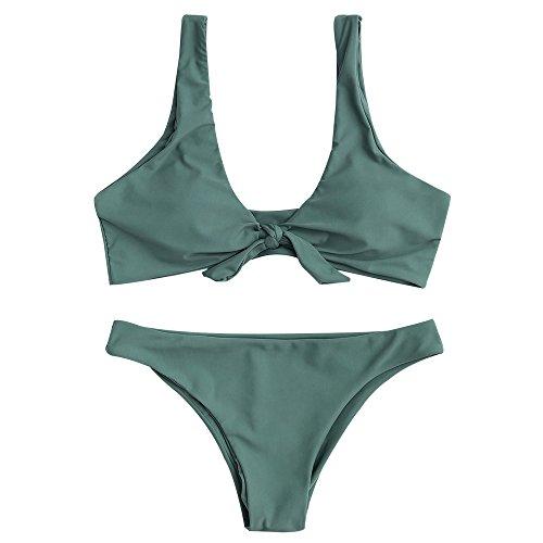 ZAFUL Damen Gepolsterte Bikini Set, Einfarbige Verknotete Badeanzug Niedrige Taille Sexy Tanga Sommer (Grün, S (EU 36))