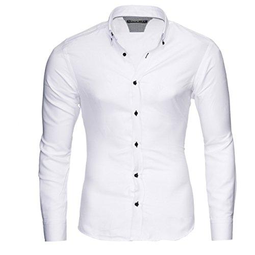 MERISH Slim Fit Hommes Chemise à manches longue Chemise Business Oxford Button Down, Modell 205 Blanc