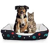 Allisandro orthopädische Hundebett runder Schlafplatz Weiches Hundesofa mit Punktmuster wendbarem Hundekissen waschbar Hundekorb Schwarz 54x54x16cm