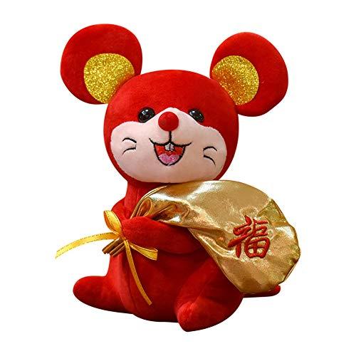 LPxdywlk 2020 Maus Jahr Maskottchen Maus Tasche Plüsch Puppe Spielzeug Geschenk Schlafsofa Dekoration 20 cm
