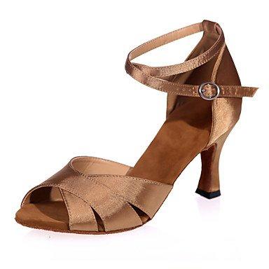 Silence @ Chaussures de danse pour femme en satin satiné latine Sandales Talon évasé Practise/intérieur/Performanceblack/marron/rouge/argent/ marron