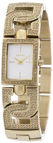 DKNY Not Assigned 2 Hand NY4935 - Reloj analógico de cuarzo para mujer, correa de acero inoxidable chapado color dorado