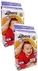 Libero Medium Size Open Diapers(2Packs, 40 Counts Per Pack)