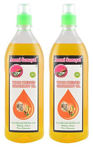 Ammi Samayal Wood Pressed (cold press) Groundnut Oil, 1 L (Pack of 2)
