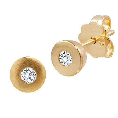 Diamond Line Damen - Ohrstecker 375er Gold 2 Diamanten ca. 0,10 ct., gelbgold