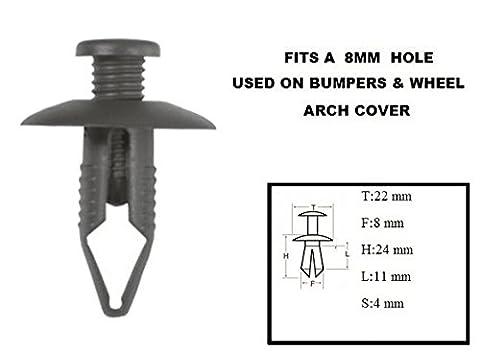 XtremeAuto® 10 X Scrivet Rivet_8mm: DARK GREY CLIPS/RIVETS/FIXTURES FOR CAR: Bumper, Moulding, Side Panel, Mounting, Wheel Arch Door