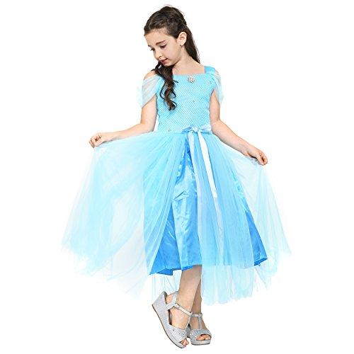 nzessin Königin Elsa Mädchen Ball Festkleid Kinder-Kostüm mit Tüll-Rock - Disney-inspiriert mit Glitzer, Rüschen und Schleife - Verkleidung zu Karneval, Weihnachten - 110/116 Blau ()