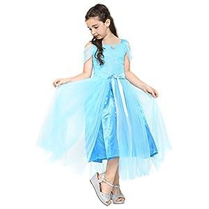 Katara - Disfraz de princesa Elsa, vestido elegante azul de la Reina de Hielo con falda de tul y mangas con volantes para niñas de 6-7 años