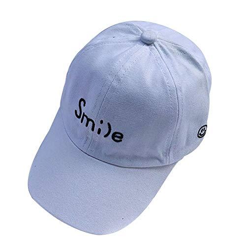 Filfeel Normallack-Baseballmütze für Kinder Kind Brief Stickerei einstellbare Sonnencreme Snapback Hat(Weiß)