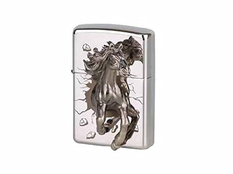 ZIPPO orgiginal chrome poli emblem 'pferd'ce limitée à 1000 pièces dans une boîte cadeau