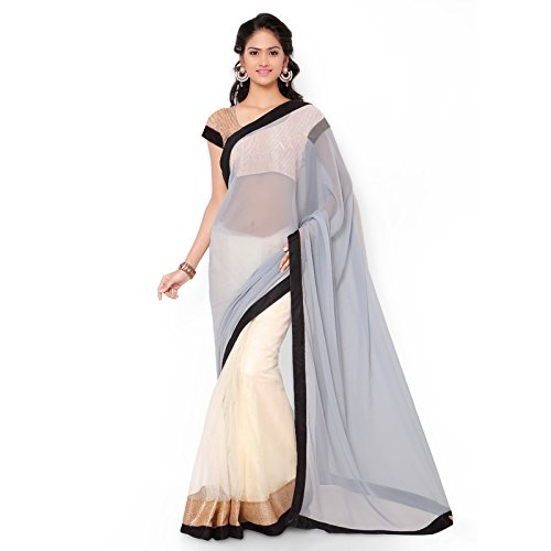 Saree (Satya Sita Women's Grey Designer Georgette & Net Fashion Half & Half with Blouse Piece)  available at amazon for Rs.350