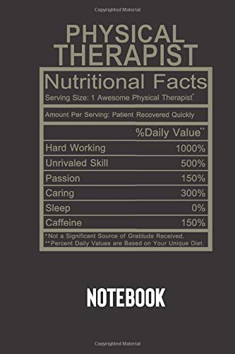 physical therapist nutritional facts: small lined Humor Nutritional Facts Notebook / Travel Journal to write in (6'' x 9'') 120 pages