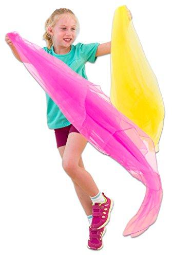 Betzold Große Spieltücher, 10 Stück im Set, Chiffon-Tücher, 140 cm x 140 cm - Jonlier-Tücher Jonglier-Tanz-Schal rhytmische Tänze und Bewegungsspiele 10 bunten Farben