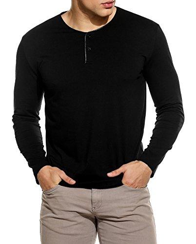 COOFANDY Herren T-Shirt aus Baumwolle Kurzarm/Langarm Leder-Ausschnitt  kurze Knopfleiste slim ...