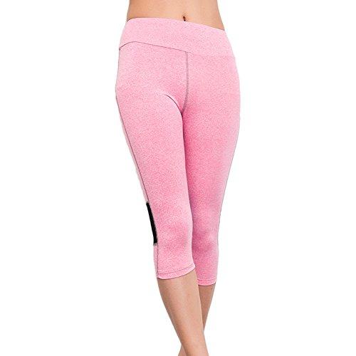 Bmeigo Femme Thin Slim Stretchy Capri Pantalon de Sport Breathable Workout Activewear pink