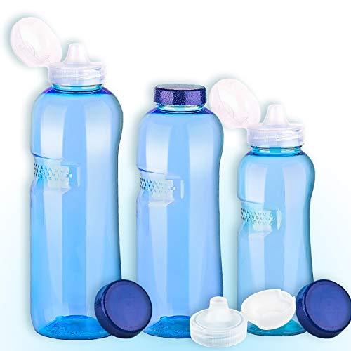 Trinkflaschen-Set: 1L + 0,75L + 0,5L aus Tritan + 3 x Sportdeckel / Wasserflasche / BPA-frei - Copolyester-glas