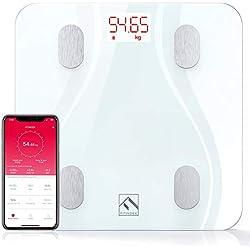 Pèse Personne Impédancemètre Avec Application Haute Précision Améliorée Bluetooth Balance Connectée Pèse Personnes Connecte Électronique Numériques FITINDEX, Blanc