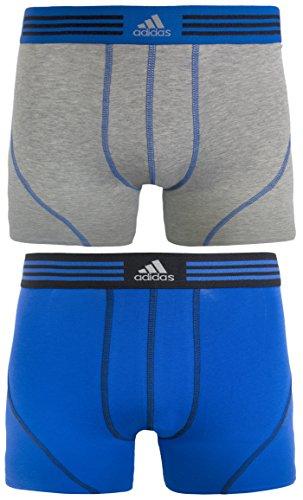 adidas Herren Athletic Stretch Cotton Trunk Unterwäsche (2er Pack), Herren, (Heather Grey/Bold Blue)/(Bold Blue/Black), X-Large -