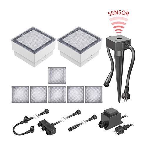 ledscom.de LED Pflaster-Stein Gorgon Boden-Einbauleuchte mit Dämmerungssensor für außen, 10x10cm, 12V, warm-weiß 8er Set