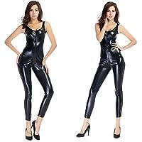 Mujeres sexy de cuero traje de lencería siamés Catwoman Latex Catsuit PVC mono vestido del clubwear