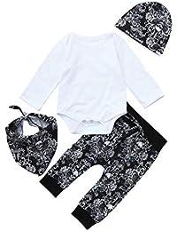 Conjuntos para Unisex Bebé Niños Niñas Otoño Invierno PAOLIAN Monos Manga Largas + Pantalones + Gorros + Toalla de la Saliva Estampado…