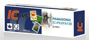 ICplus Lot de 2 rouleaux de film transfert thermique, équivalent Panasonic KX-FA136X, pour Panasonic KX-FP320/KX-FP320E/KX-F1830/KX-F1810/KX-F1810E/KX-F1820/KX-F1830E/KX-FP300/KX-FP300E/KX-FM330 Noir