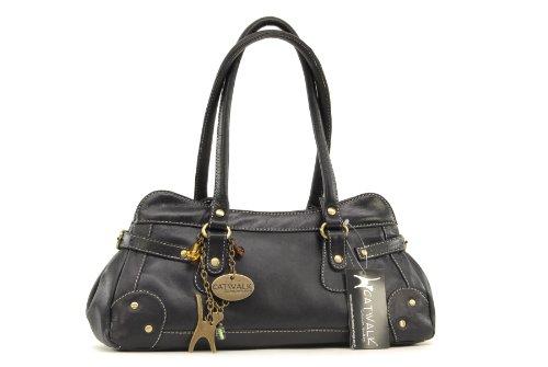 """Lederhandtasche """"Carnaby"""" von Catwalk Collection - GRÖßE: B: 33 H: 13 T: 9 cm Schwarz"""