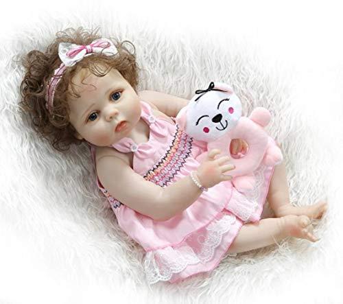 SYP 23 Pulgadas 57 cm Bebé Reborn Cuerpo Entero Silicona Niña Ojos Abiertos Muñeca Bebe Recien Nacido Realista Toddler Magnetismo Juguetes Bañar Regalo