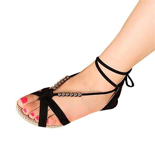 Minetom Casual Sandali da Donne d'estate Scarpe Pantofole con Perline Nastri Accessorio Vacanza Nero
