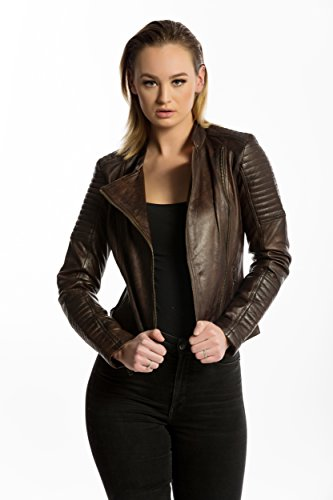 Urban Leather Fashion Lederjacke - Sylvia, Braun, Größe 42, XL