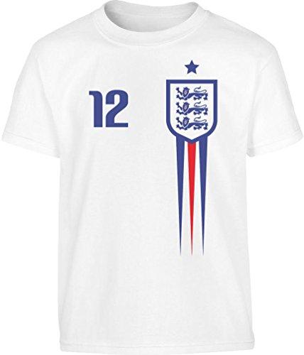 England Fußball WM Fantrikot Fan-Shirt Kleinkind Kinder T-Shirt - Gr. 86-128 104 (3-4J) Weiß -