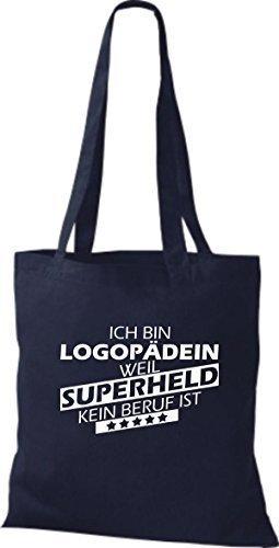 shirtstown Borsa di stoffa SONO logopädin, WEIL supereroe NESSUN lavoro è Blu marino