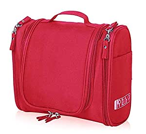 PETRICE Multifunctional Toiletry Large Makeup Waterproof Shower Wash Bag Cosmetic Case Travel Kit Pack with Hook (Red)