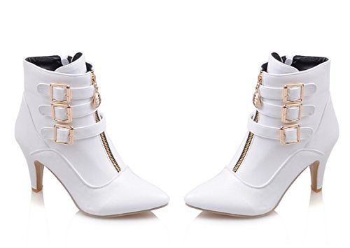 YE Damen Spitze Blockabsatz High Heels Stiefeletten mit Schnallen und Reißverschluss 8cm Absatz Herbst-Winterschuhe Weiß