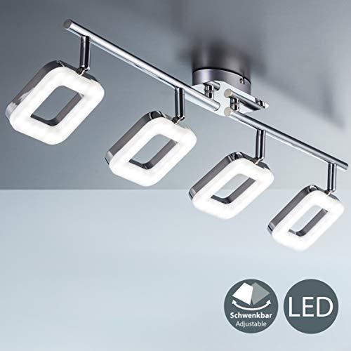 Plafoniera led moderna, lampada da soffitto, 4 luci orientabili a forma quadrata, led integrati 4 x 4 w, luce calda 3000k, corpo metallo cromato, lampadario per soggiorno o camera da letto, 230v ip20