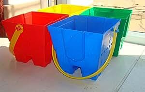2x Petit Petit carré 14cm forme château Plage bucket- 1Lot = 2seaux Noir/gris 1 Red 1 Green