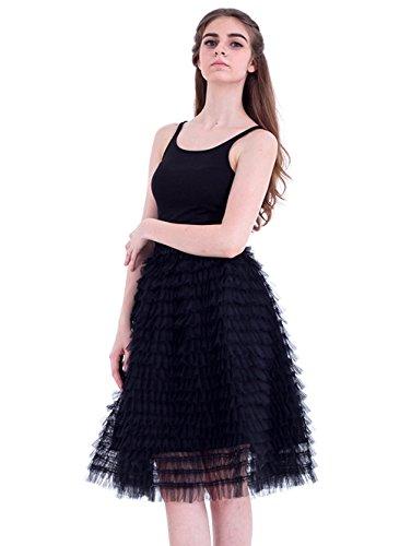 Honeystore Damen's Vintage Petticoat Unterrock Reifrock für Hochzeit Brautkleid Retro Prinzessin Tutu Rock Tüllrock Faltenrock One Size Schwarz (Diy Halloween Kostüme Mime)