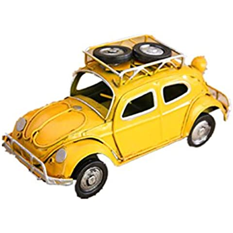 GYN Metal Retro Nostalgia coche modelo Ornaments(red, yellow, blue) , yellow