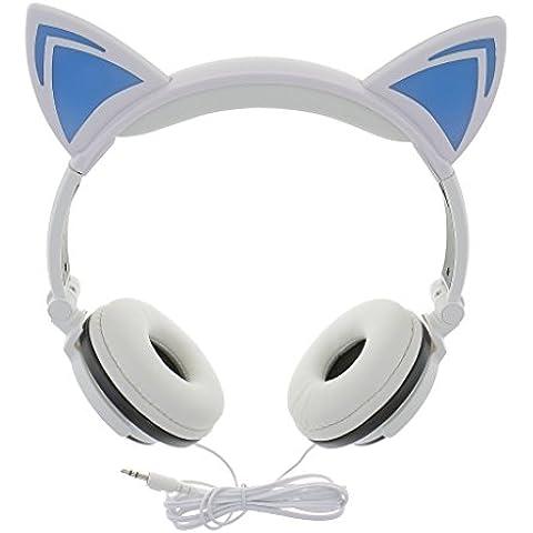 Auriculares de Oído Con Cable Forma de Gato Brillantes Luces LED Sobre Color Rosa / Negro / Blanco -