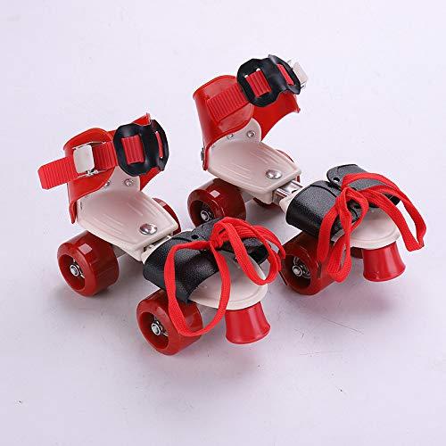 Schlittschuhe Zweireihige Riemenscheibe Vierrad Verstellbare Rollschuhe Verstellbare Rollschuhe Rot