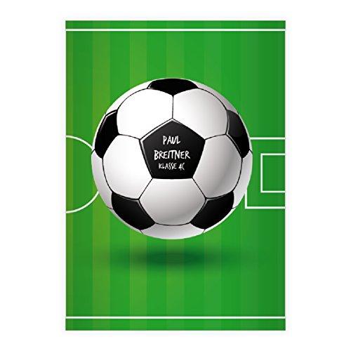 Kartenkaufrausch 4 personalisierte, coole Fußballer DIN A4 Schulhefte, Rechenhefte mit Fußball Feld und Ball Lineatur 7 (kariertes Heft) (Drucken Fußball-feld)