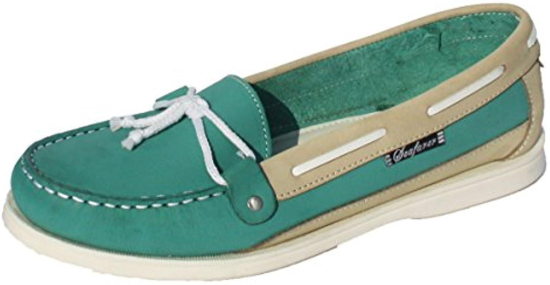 Seafarer 7200L Mujer Verde & Beige Cuero Mocasín Zapato Del Barco EU 41